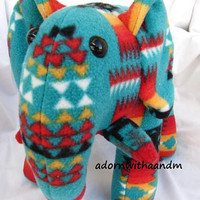 Navajo blanket elephant, turquoise fire, pendleton inspired, stuffed animal, plush, plushie, turquoise, pendleton blanket, native indian