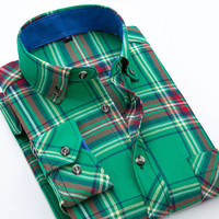 Spring New Men Casual Plaid Shirts Slim Fit Long Sleeve Cotton Soft Comfort Button-Up Clothing Flannel Men Shirt