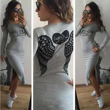 Angel Wings Heart-shaped Letter Pattern Print Bodycon Long Sleeve Split Maxi Dress