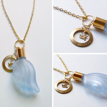 vintage blue wing-shaped perfume glass bottle necklace pendant on 36 inch gold plated chain . fragrance . perfume oil . aromatherapy