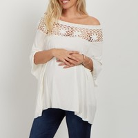 Ivory Open Floral Crochet Maternity Top