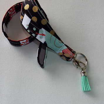 Lanyard  ID Badge Holder - black and white stripes metallic gold flowers - metallic gold dots tassel  - Lobster clasp and key ring