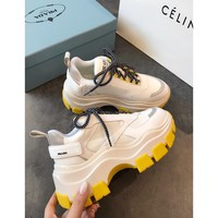 Prada Block Sneakers White Yellow - Best Online Sale