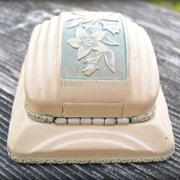 Art Deco Engagement Ring Box, Charming Orange Blossom Ivory and Green Metal Box, Engagement or Wedding Ring Presentation or Display