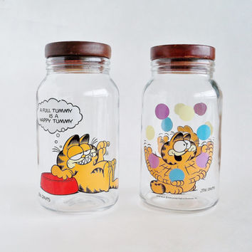 Garfield Goodie Jars Storage Canisters Set of 2 ANCHOR HOCKING