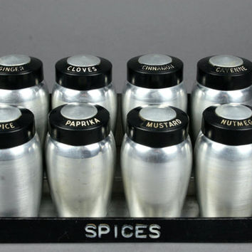 Kromex Aluminum Spice Set with Hanging Rack made in the USA