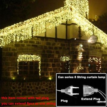christmas lights Outdoor string light 4.5m 110V 220V 100 leds Curtain Decorative New Year Party Weeding Holiday LED Lamp Light