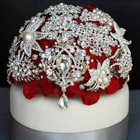 Luxury Vintage Bridal Brooch Bouquet Wedding Cake Topper - Pearl Rhinestone Crystal - Silver Ruby Red - 40% off - CT003LX