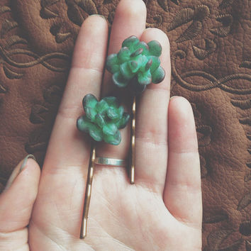 Little Succulent bobby pins-hand painted polymer clay accessories