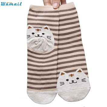Womail New Fashion Cute Cartoon Cat Socks Striped Pattern Women Cotton Sock Winter Aug10 Drop Shipping Womail