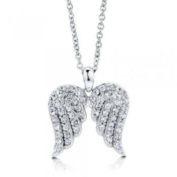Sterling Silver 925 Cubic Zirconia CZ Angel Wings Pendant Necklace #n896