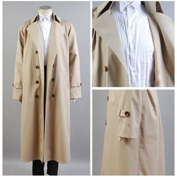 Supernatural Hunter Angel Emmanuel Cas/Castiel Twill Trench Coat Cosplay Costume