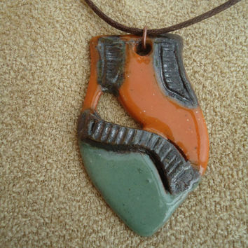 Handmade  ceramic pendant. OOAK. Clay necklace. Brown, orange, green. FREE SHIPPING!