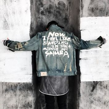Graffiti Font Black Blue Men And Women Jacket Heavy Wash Water Broken Hole Denim Coat Basic Coats Autumn Winter Outerwear Jacket