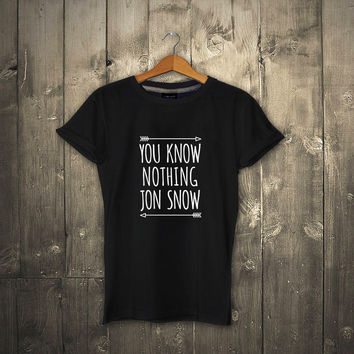 Summer Casual Cotton Tops Tees Fashion You Know Nothing Jon Snow T Shirt Games Of Thrones Black 100% Cotton