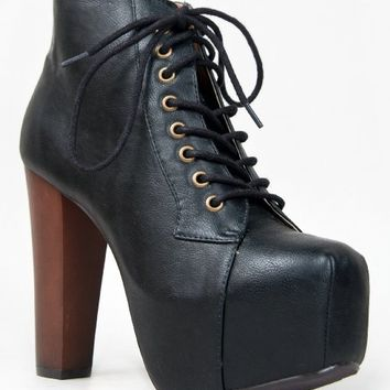Speed Limit 98 ROSA Designer Inspired Lita Style Chunky High Heel Lace Up Ankle Boot Bootie, Black PU, SIZE 9