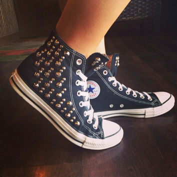 2caa28130a6 Unique Studded Custom Converse All Star High Tops - Chuck Taylor