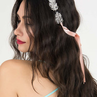 Silver Crystal Leaf Ribbon Tied Headband