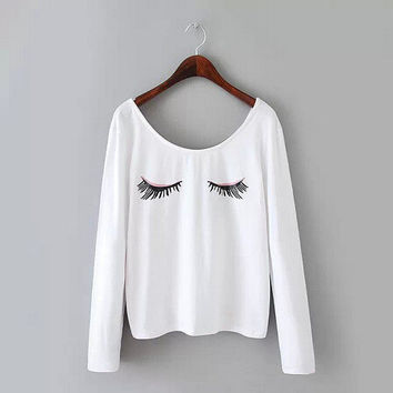 Sexy Thick Long Hot Sale Hot Deal Stylish Mini Print Long Sleeve Round-neck Pullover T-shirts False Eyelashes [4962037572]