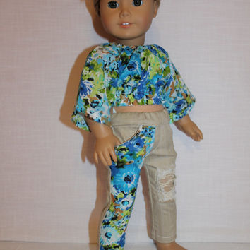 18 inch doll clothes, blue floral peasant crop top with wide sleeves, beige denim ripped skinny jeans with lace, american girl ,maplelea