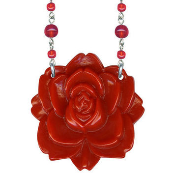 Classic Hardware Jewelry - Red Carved Round Retrolite Flower Necklace on a Glass Beaded Chain