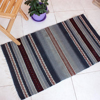 Handwoven wool rug in gray and red, striped  gray rug and red motifs, handmade wool rug