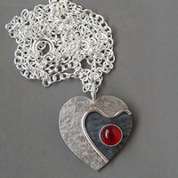 Sterling silver necklace - Sterling silver pendant - Carnelian heart pendant - Gemstone necklace - Heart necklace - Handcrafted