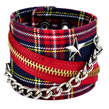 "Red Plaid With Star Stud Chain & Zipper Wristband 2-1/2"" Wide Metal"