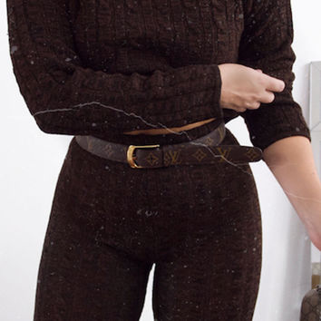 BROWN CABLE KNIT LEGGING CO-ORD SET