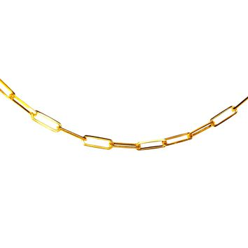 14K Gold Long Link Chain Necklace