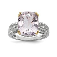 Sterling Silver And 14k Gold Light Rose De France Amethyst & Diamond Ring