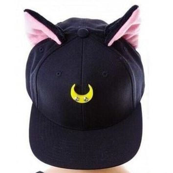 DCCKVQ8 Cat Ears Crescent Sailor Moon Warrior Cute Cartoon Hat Duck Tongue Cap