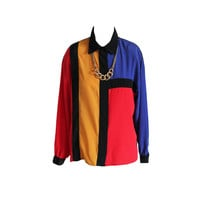 Med. 90's Hip Hop Shirt Color Block VTG Colorful Long Sleeved Blouse Women's Button Up Shirt Blue Red Yellow Black Collared Top Size Medium