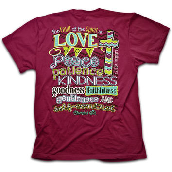 Cherished Girl Fruit of the Spirit Chevron Cross Christian Girlie Bright T Shirt