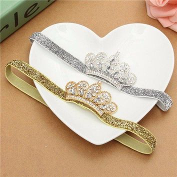 Children Baby Girl Tiara Sparkly Toddler Crystal Crown Headband Headdress Headpiece