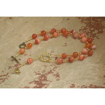 Hestia Prayer Bead Necklace in Red Agate: Greek Goddess of Hearth, Home and Family