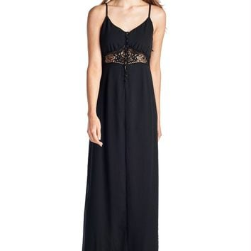 Women's Sleeveless Maxi Tank Dress with Lace Front & Back Detail