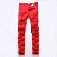 Men Ripped Holes Zippers Casual Slim Stretch Club Pants [6544720131]