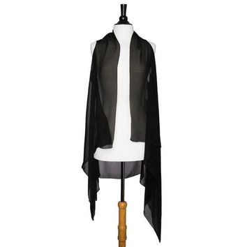 Black Marilyn Sheer Shawl Vest