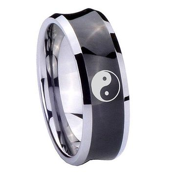 8MM Black Concave Yin Yang Two Tone Tungsten Carbide Laser Engraved Ring