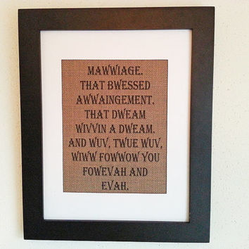 Mawwiage That Bwessed Awwaingement 11x14 Framed Tan Burlap Print