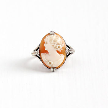 Vintage Art Deco Silver Carved Genuine Shell Cameo Ring - 1930s Size 5 Oval Cameo of Woman Wheat Setting Classic Statement Jewelry