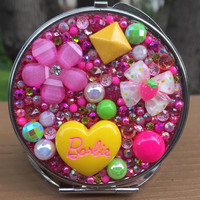 Compact Mirror -- Yellow Spring Kawaii Barbie Confetti