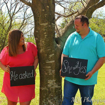 he asked she said yes signs, he asked she said yes photo prop, engagement signs, rustic wedding sign, she said yes sign, engagement photo