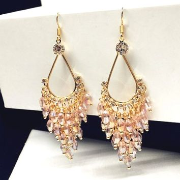 Pink Crystal and Gold Chandelier Dangle Earrings