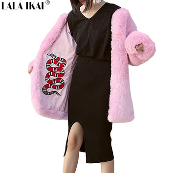 Plus Size Women Pink Embroidery Faux Fur Coat Snake Printed Fur Jacket  For Women Elegant Winter Long Coats Ladies 2016SWQ0281-4
