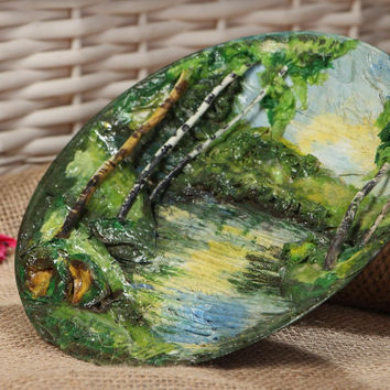 Paper mache Plate painted acrylics Handmade Eco friendly Home decor Gift ideas