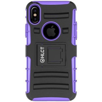 ONETOW iPhone X Stand Case, HLCT Rugged Shock Proof Dual-Layer Case with Built-In Stand Kickstand (Purple)