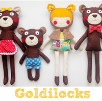 Goldilocks and the Three Bears Play set. Handmade stuffed toys for children. Gift for kids. Kids room decoration. Birthday gift for girls.