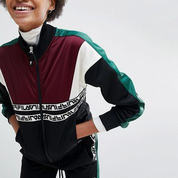 Fila Tracksuit Jacket With Contrast Panels And Logo Taping at asos.com